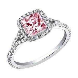 2.26 CTS. Pink princess halo diamond WG anniversar